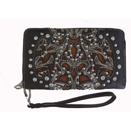 Montana West Ladies Ridem Cowgirl Zippered Wristlet Wallet Floral Cutouts Coffee