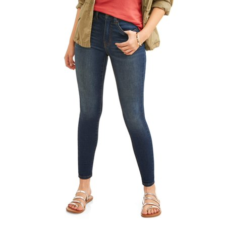 Time and Tru Women's Core High Rise Skinny Jean (High Top Chuck Taylors With Skinny Jeans)