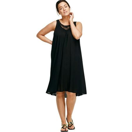 Ellos Plus Size Crochet Inset Trapeze Dress (Crochet Plus Size Dress)