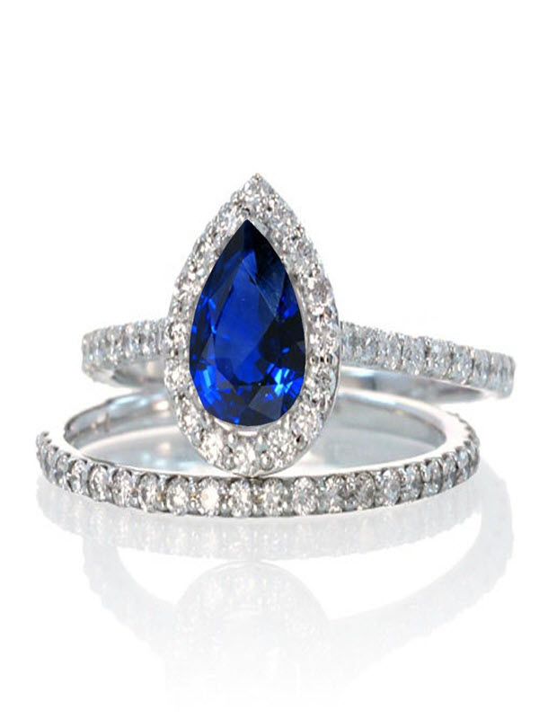 2 Carat Pear Cut Sapphire Halo Bridal Set for Woman on 10k White Gold by JeenJewels