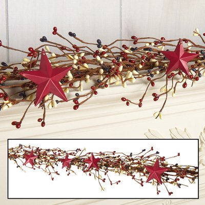 Primitive Country Rustic Americana Decor Star And Pip Berry Garland 60 L
