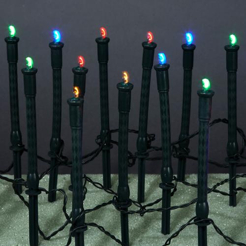 Set of 60 LED Multi-Color Garden Stake Lights - Black Wire