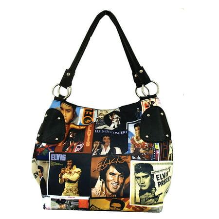 - Elvis Presley Lifetime Collage Purse - Microfiber w/ Leather Look Accents