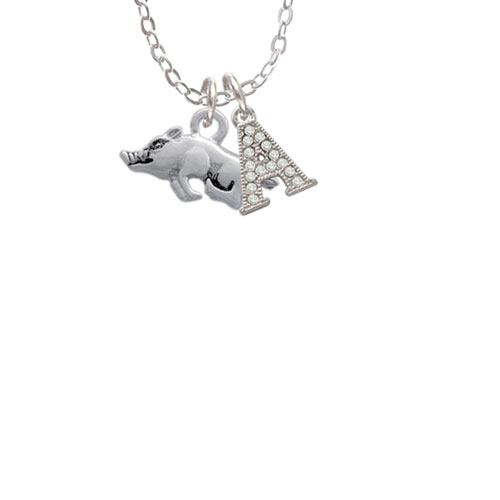 """Antiqued Razorback - A - Crystal Initial Sophia Necklace, 18""""+1"""""""