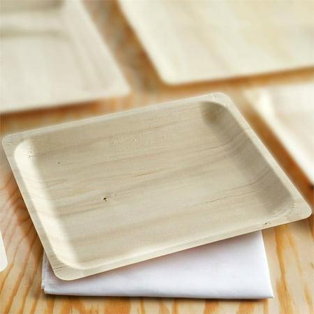 "BalsaCircle 12 pcs 10.5"" x 8.5"" Disposable Natural Birch Wooden Rectangle Plates - Eco Friendly Biodegradable Wedding Tableware"