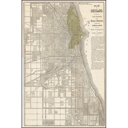 LAMINATED POSTER Map of Chicago; showing the Parks, Boulevards, and Burnt District . . . POSTER PRINT 24 x (Map Of The Garden District In New Orleans)