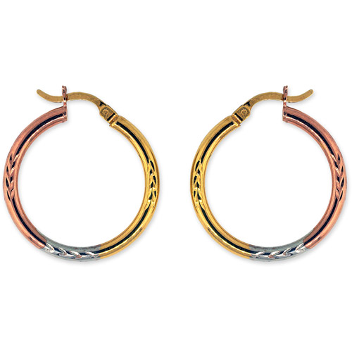 "18kt Pink Gold over Sterling Silver Diamond Cut 1"" Hoop Earrings"