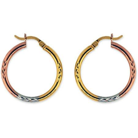 "18kt Pink Gold over Sterling Silver Diamond Cut 1"" Hoop Earrings"