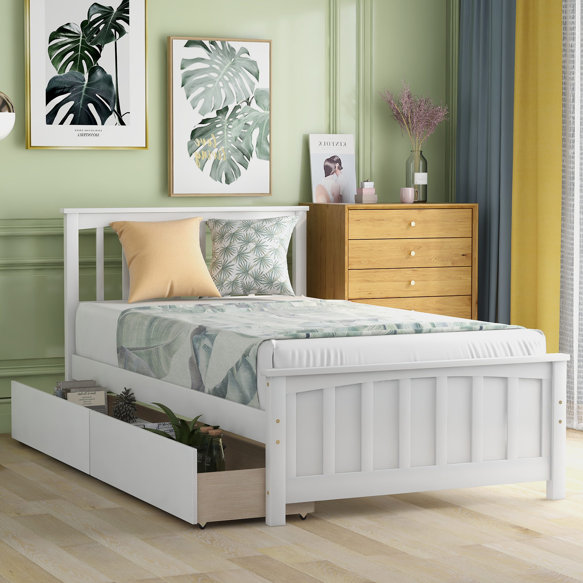 Twin size Platform Bed with Two Drawers, White - Walmart ...