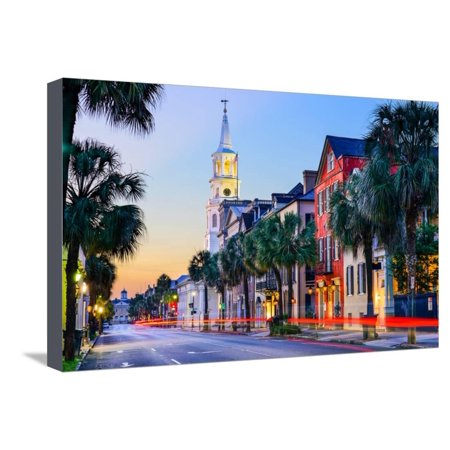 Charleston, South Carolina, USA Cityscape in the Historic French Quarter at Twilight. Stretched Canvas Print Wall Art By Sean (French Quarter Charleston)