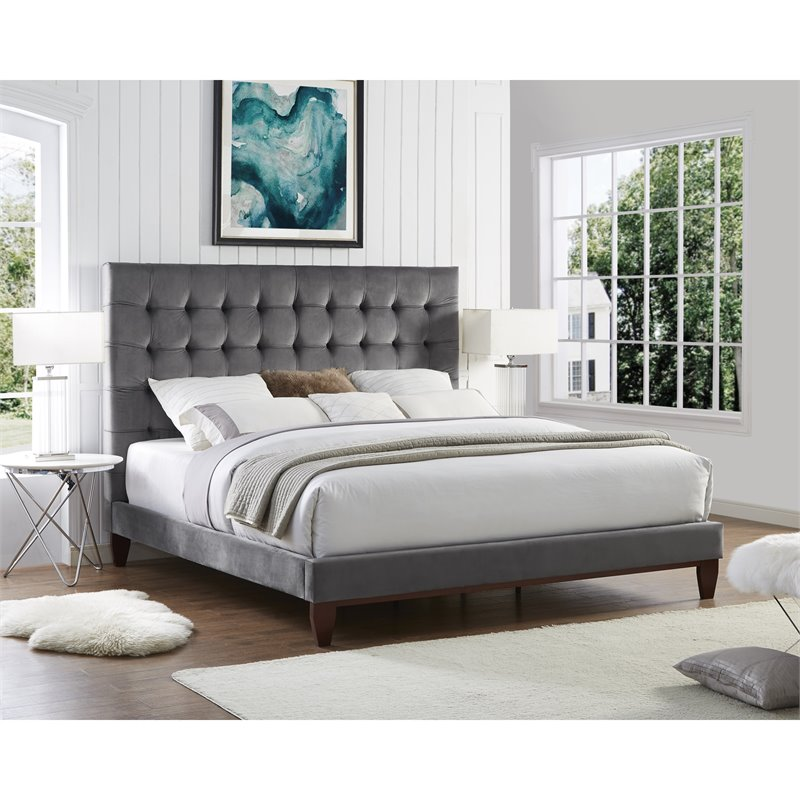 Blake Grey Velvet Bed Frame - Queen Size - Tufted - Upholstered