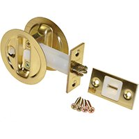 Johnson 15213PK1 Round Pocket Door Latch with Privacy Lock, Bright Brass