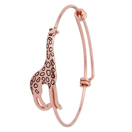 Gold Stackable Bangle - Dainty Stackable Giraffe Bangle Bracelet with Expandable Wire(Rose gold)