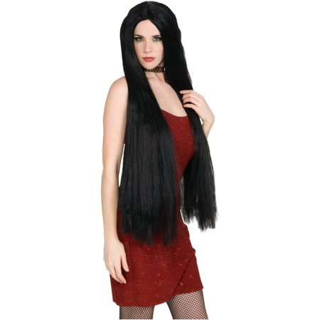 """Womens 36"""" Long Black Witch Wig Costume Accessory"""