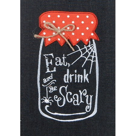 Eat Drink Be Scary Halloween 28 Inch Embroidered Kitchen Dish Tea Towel](Scary Side Dishes For Halloween)