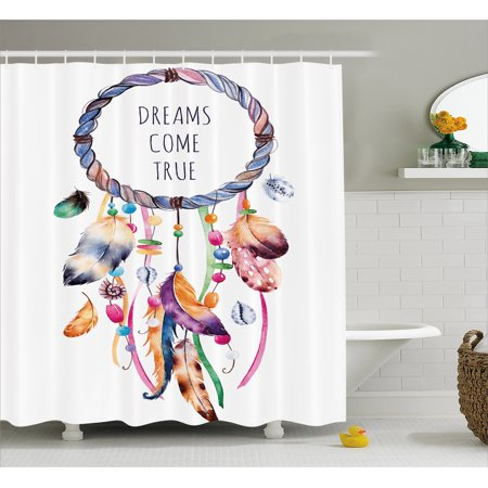 Native Americans Feathers - Feather Shower Curtain, Ethnic and Tribal Native American Dream Catcher Illustration Bohemian Style Image, Fabric Bathroom Set with Hooks, Multicolor, by Ambesonne
