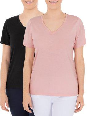Time and Tru Women's Essential Pima Cotton V-Neck T-Shirt, 2 Pack Bundle