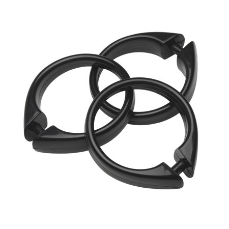 "- Black Set of 12 Easy-to-Use Plastic Snap On Shower Curtain Rings  Size: 2"" Diameter"
