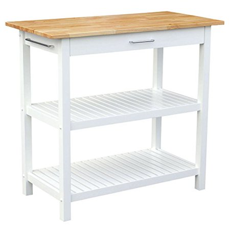 Contemporary Style Hardwood Top Kitchen Island Storage Cart Wooden Frame with Single Storage Drawer | 2 Shelves, Chrome Handle, White Finish - Includes Modhaus Living Pen