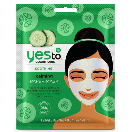 (2 pack) Yes To Cucumbers Calming Paper Mask, Single Use Face (Riddell Face Mask)