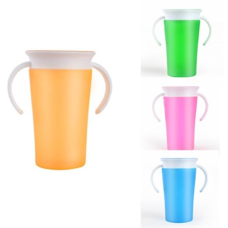 1pc Modern Useful Children Feeding Miracle Baby Learning Safe Spill Free 360 Degree Training Drink Cup Bottle With Handles 260ml thumbnail