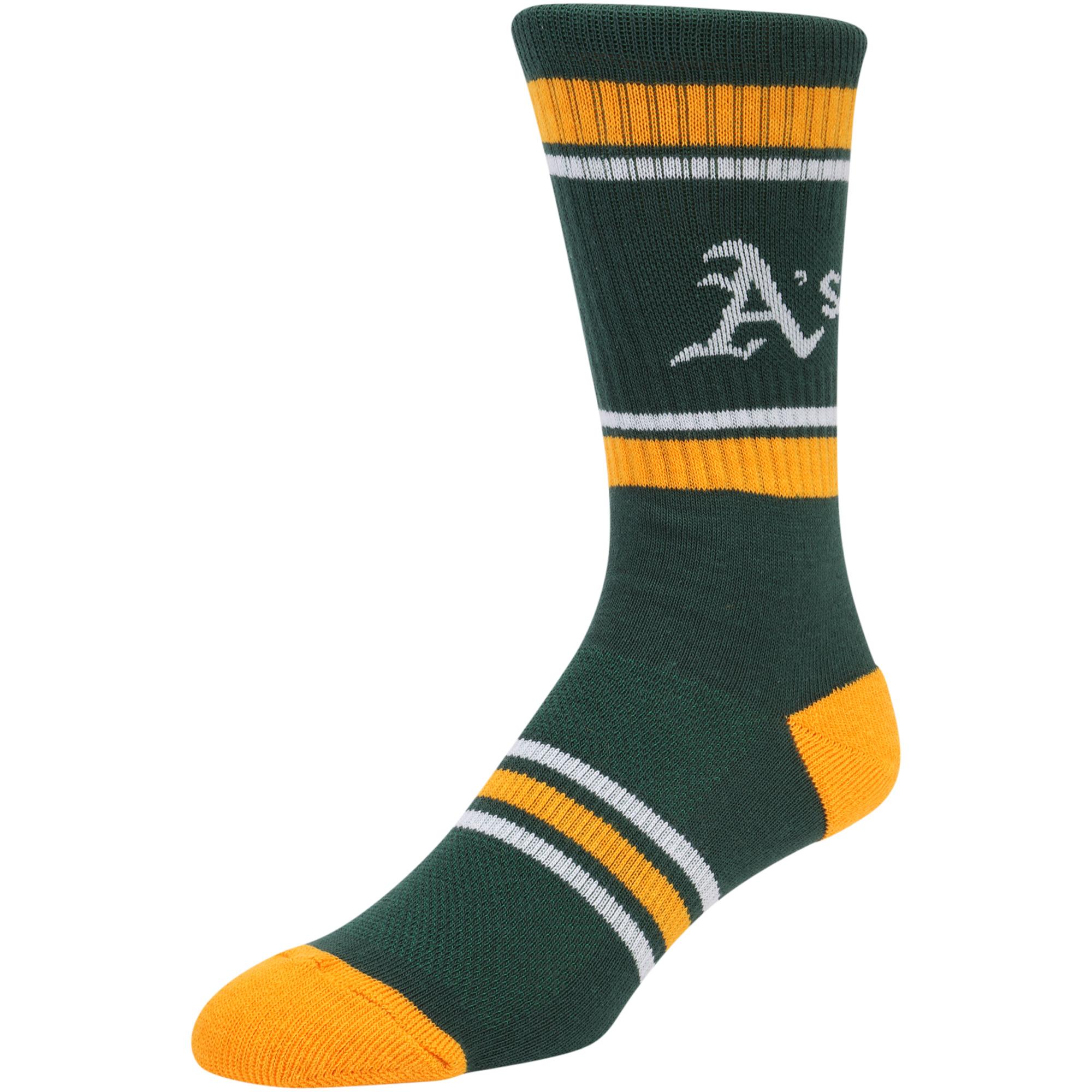 Oakland Athletics Stripe Crew Socks - Green - L