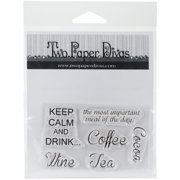 Two Paper Divas Clear Stamps 6 Inch X 4.5 Inch-Keep Calm & Drink