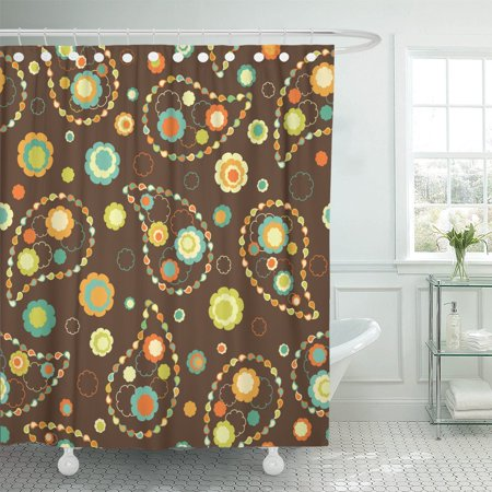 PKNMT Brown Damask Paisley Orange Abstract Beauty Color Fancy Floral Shower Curtain 60x72 inches Brown Paisley Shower Curtain