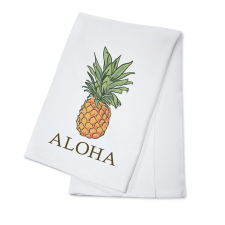 Aloha - Pineapple - Icon - Lantern Press Artwork (100% Cotton Kitchen Towel)