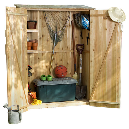All Things Cedar Western Red Cedar 4 ft. W x 2 ft. D Wooden Vertical Tool Shed