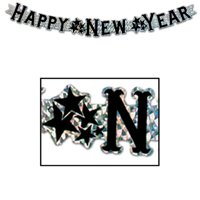 Prismatic Happy New Year Streamer silver Party Accessory  1 count 1Pkg