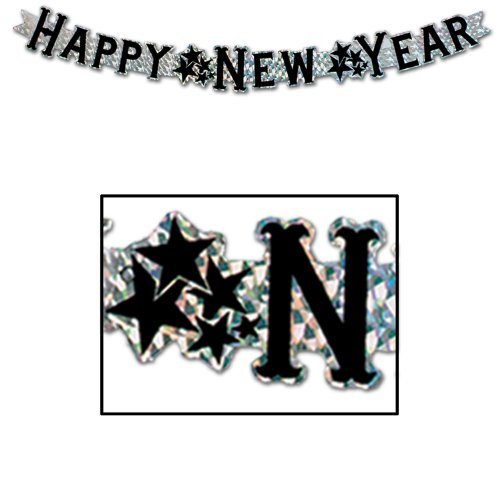 Prismatic Happy New Year Streamer (silver) Party Accessory  (1 count) (1/Pkg)