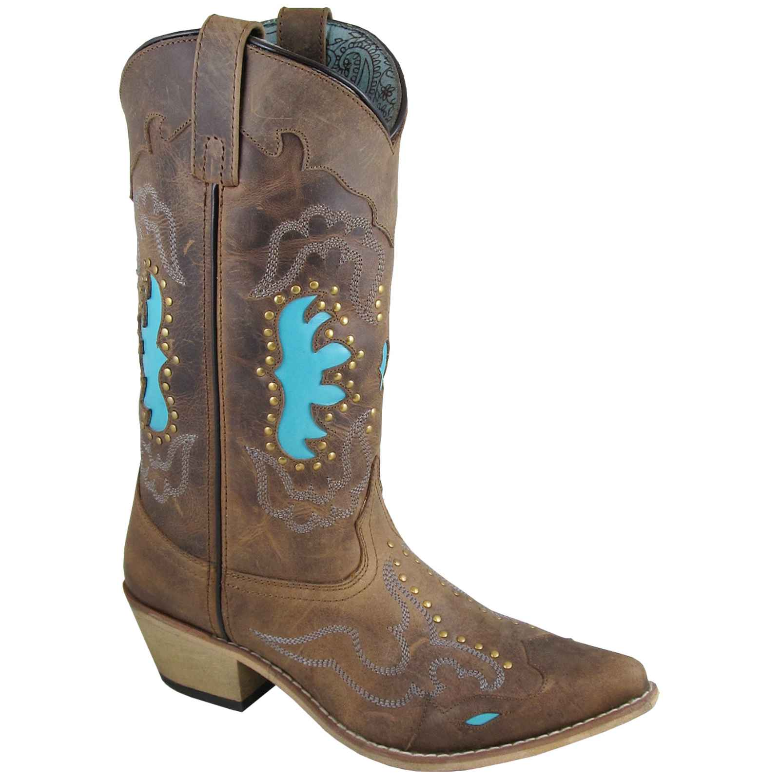 "Smoky Mountain Women's Moon Boot Bay 12"" Brown/Turquoise Leather Cowboy Boot Moon 6016 d08118"