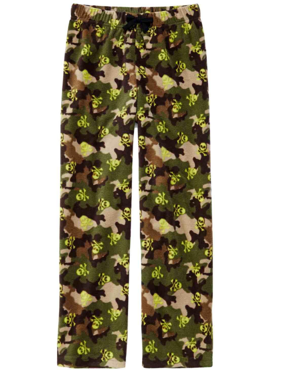 Boys Camouflage Sleep Fleece Skull PJ Bottoms Lounge Pants