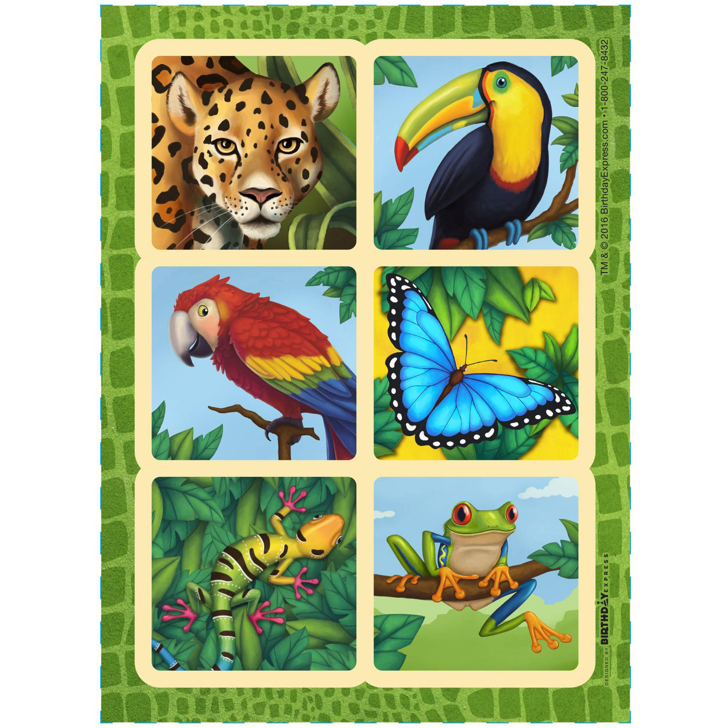 Jungle Party Sticker Sheets, 4-Pack
