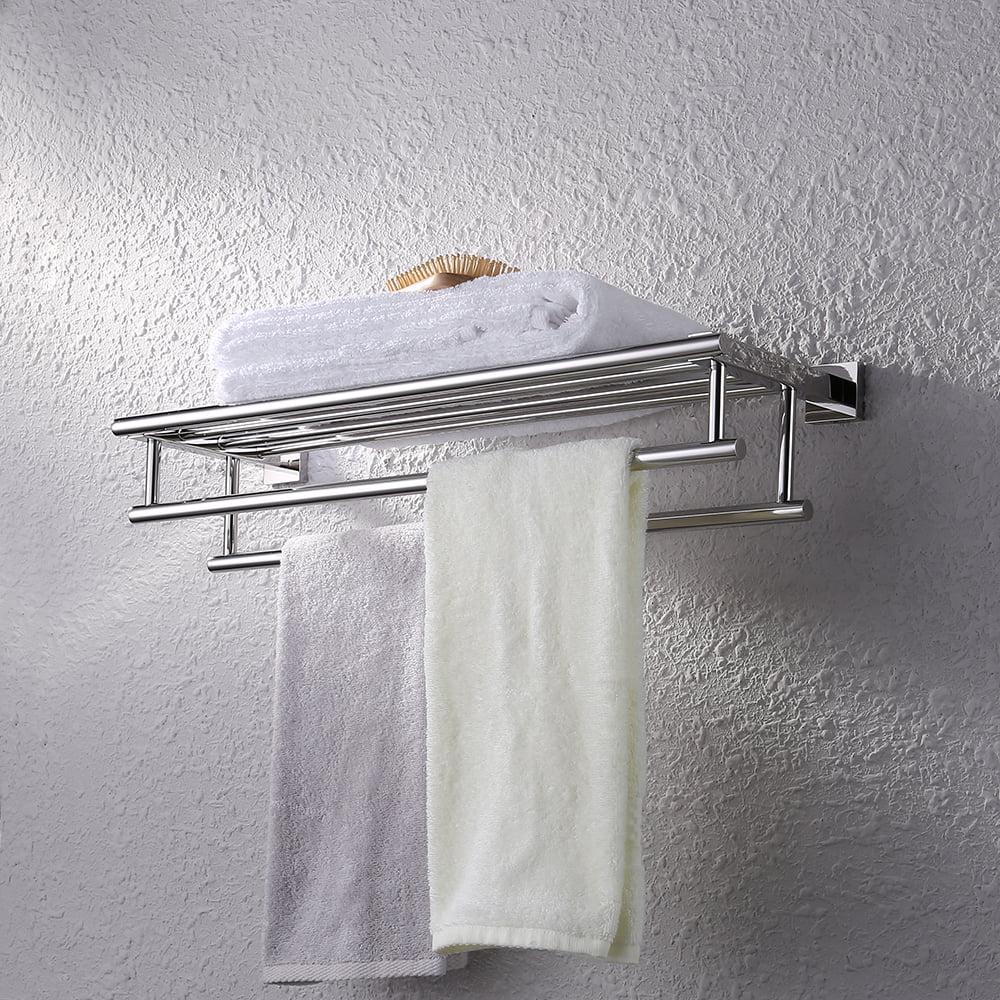 Kes Shelf With Towel Rack Minimalist Stainless Steel Towel Rack With