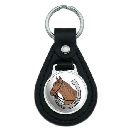 Horseshoe Keychain (Brown Horse in Horseshoe Black Leather Keychain )
