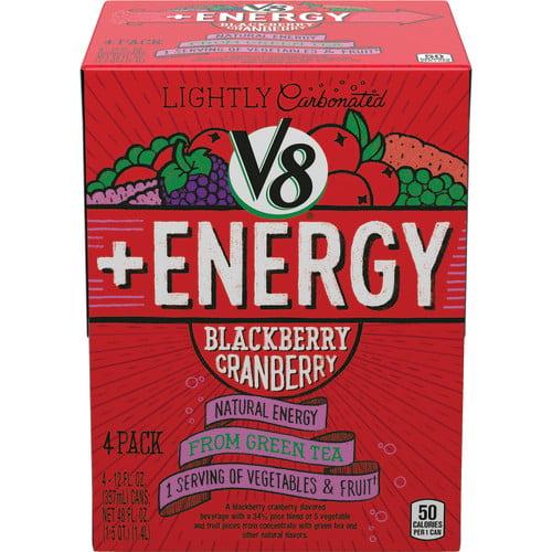 V8 +Energy Blackberry Cranberry, 12 oz., 4 pack
