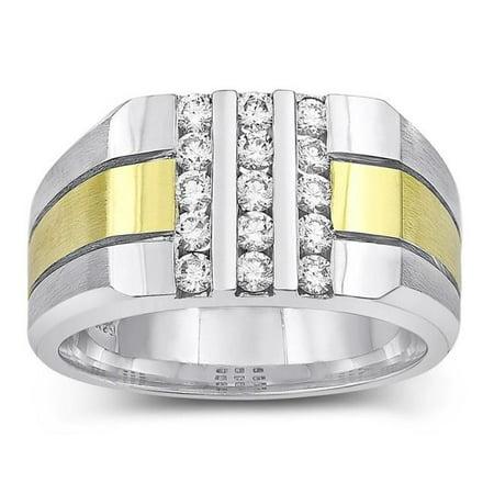 Harry Chad HC10752-6 0.75 CT Round Diamonds Mens Fancy Ring, Two Tone Gold 14K - Color F - VVS1 Clarity - image 1 de 1