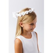 Girls White Flower Embellished Ribbon Back Special Occasion Stylish Crown