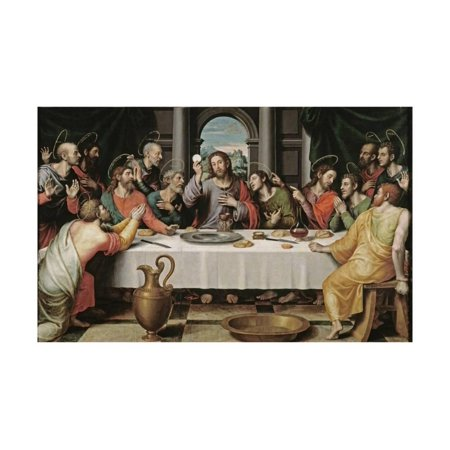 Jesus Painting - The Last Supper Jesus with Apostles Bible Scene Painting Print Wall Art By Juan De juanes