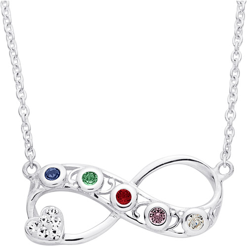 Personalized Women's Midnight Sonata Sterling Silver Family Birthstone Necklace