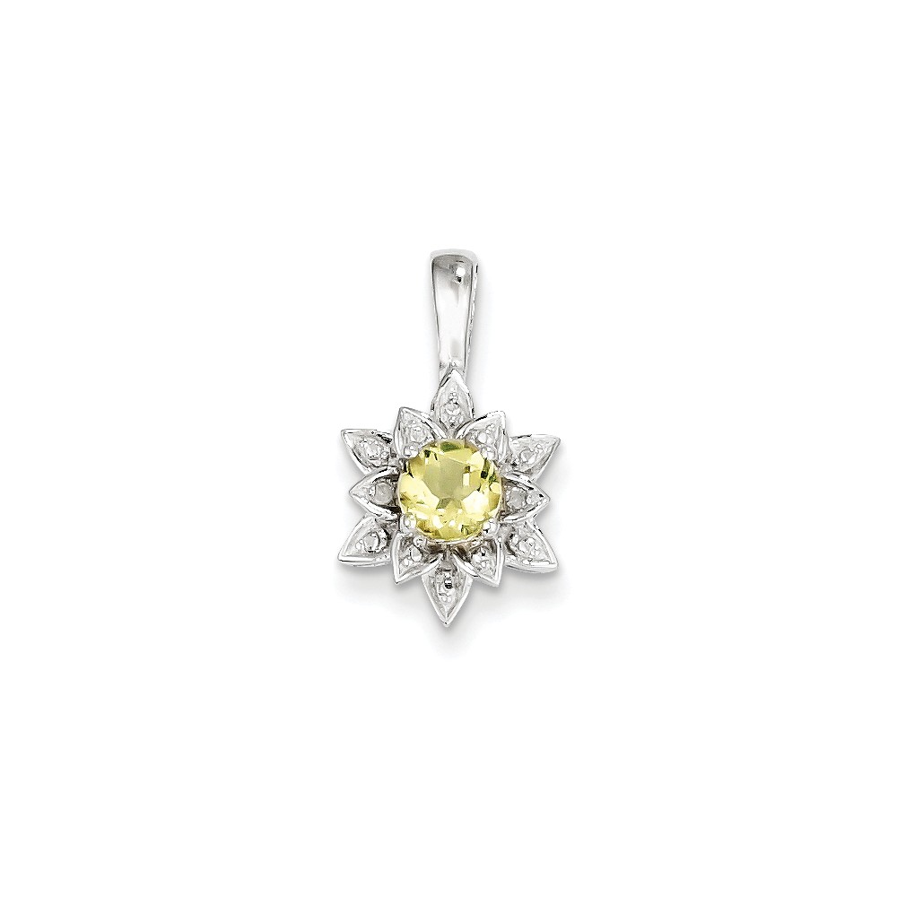 Sterling Silver Diamond & Lemon Quartz Pendant. Gem Wt- 0.44ct