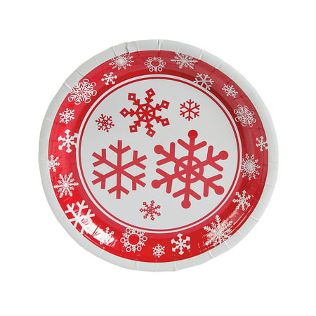 Halloween Plates And Bowls (Fun Express - Red/white Snowflake Dinner Plates for Christmas - Party Supplies - Print Tableware - Print Plates & Bowls - Christmas - 8)