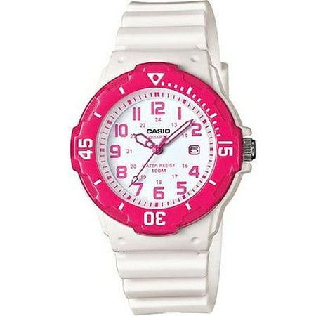 Casio LRW200H-4BV Women's White Resin Band Pink Bezel 100M Sports Analog Watch
