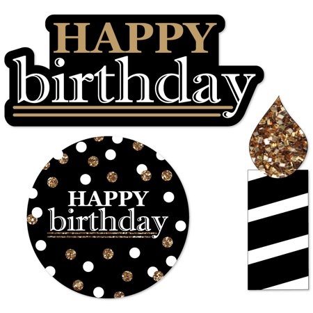 Adult Happy Birthday - Gold - DIY Shaped Birthday Party Cut-Outs - 24 Count - Happy Birthday Adults