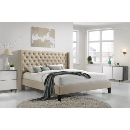 Pacifica King-Size Tufted Upholstered Platform Contemporary Bed in Beige Fabric