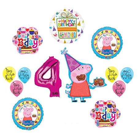 Peppa Pig 4th Birthday Party Balloon supplies and decorations kit for $<!---->