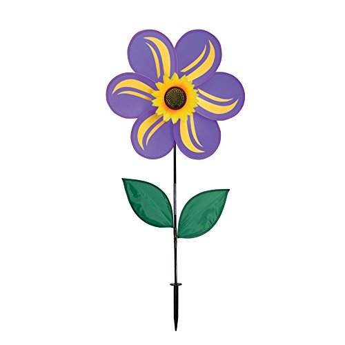 In the Breeze 19 Inch Teal Sunflower Wind Spinner with Leaves - Includes Ground Stake - Colorful Flower for your Yard and Garden