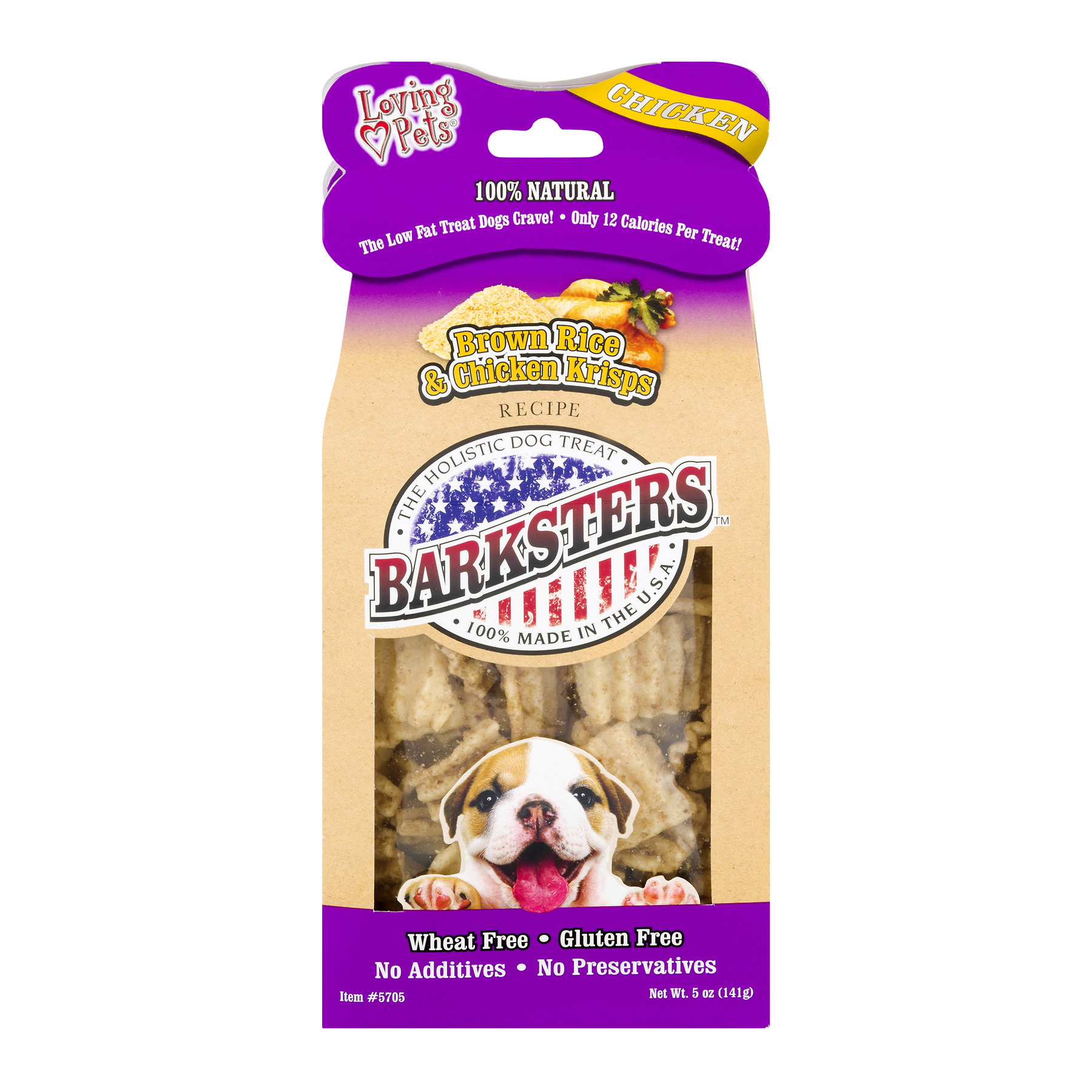 Loving Pets Barksters Dog Treats Brown Rice & Chicken Krisps, 5.0 OZ